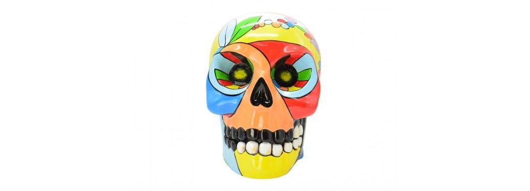 Statue crâne multicolore en résine peint à la main - H41 cm