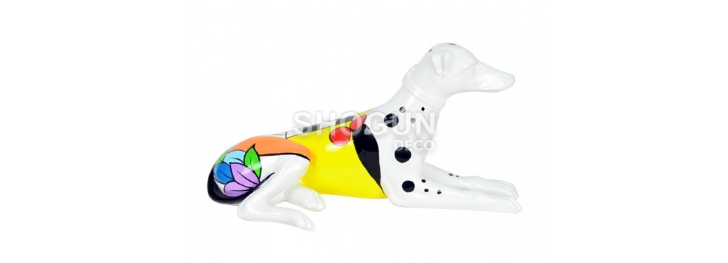 Statue de chien lévrier assis, habillé de rayures multicolores - H54 cm