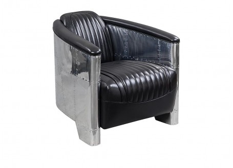 Black leather aviator armchair DC3