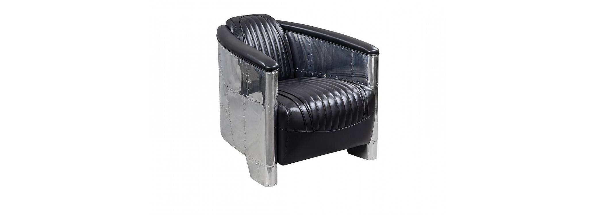 Aviator armchair - Black leather