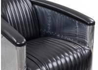 Black leather aviator armchair DC3