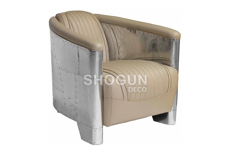 fauteuil club aviator cuir beige et aluminium. Black Bedroom Furniture Sets. Home Design Ideas