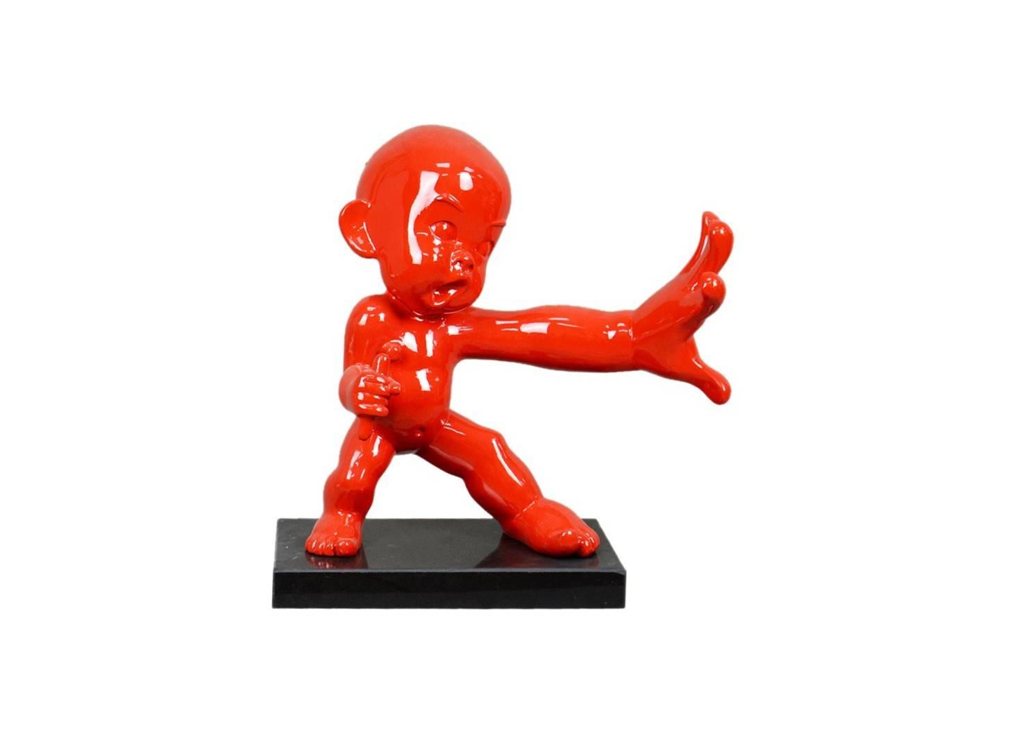 Baby ninja doing kung-fu training