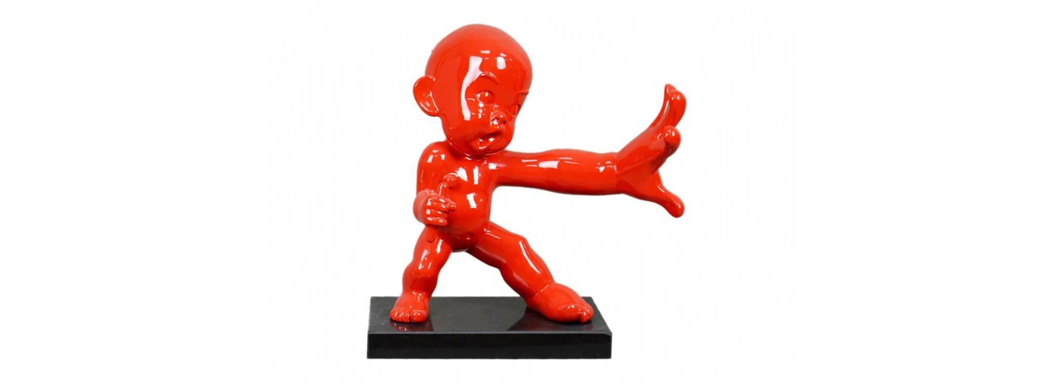 Statue de bébé ninja pratiquant le Kung Fu - H30 cm