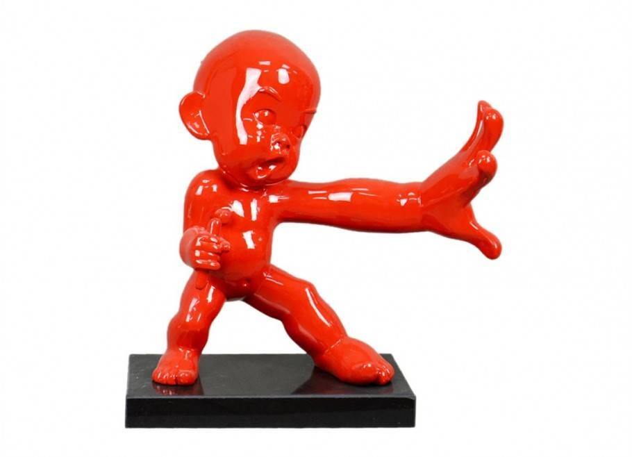 Grande statue de bébé ninja pratiquant le Kung Fu - H49 cm