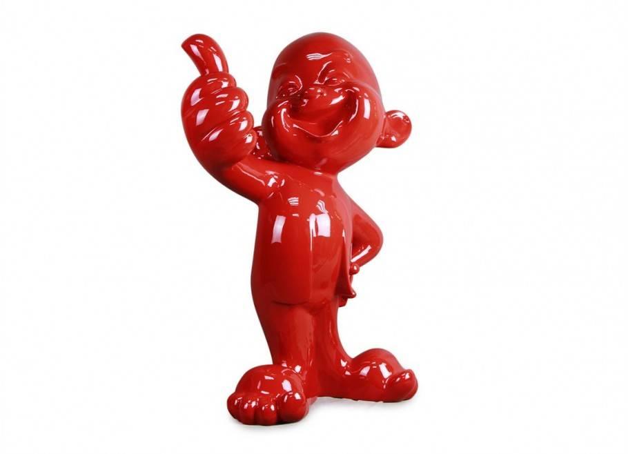 Grande statue bébé au sourire, le pouce levé. Déco en résine rouge 80 cm.
