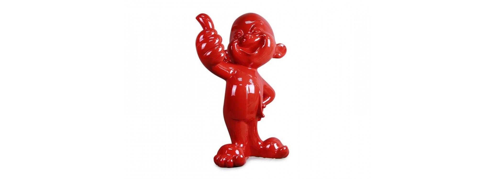 Grande statue rouge d'un bébé au sourire, le pouce levé - H80 cm