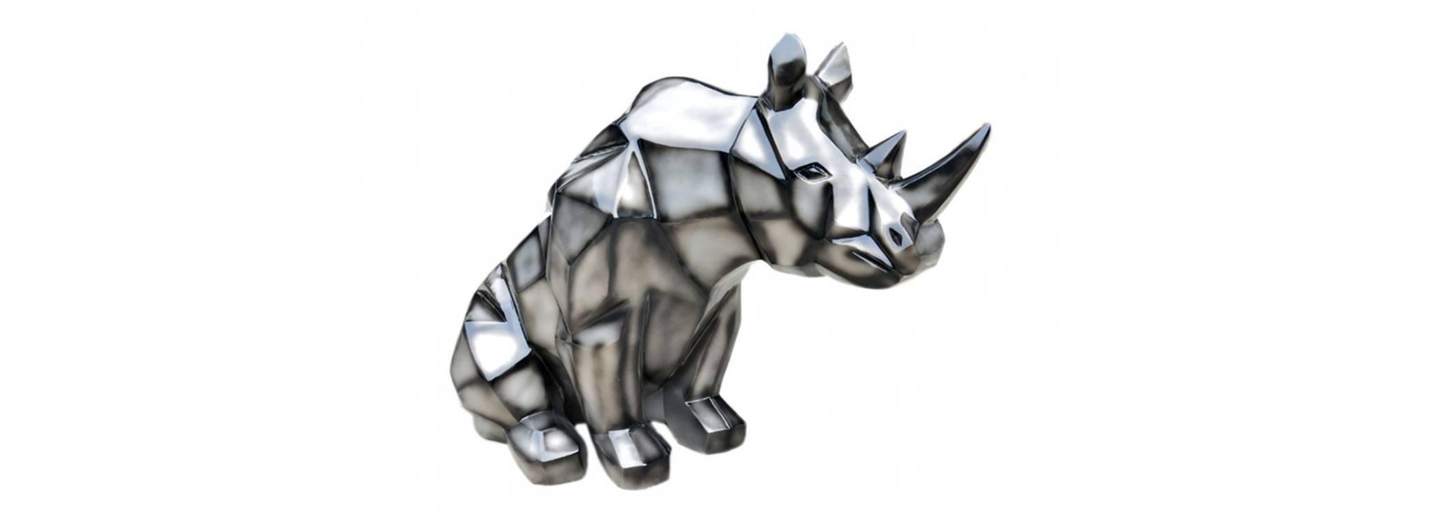 Statue de rhinocéros style origami en résine - L117 cm