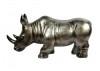 Statue de rhinocéros .Gris argenté. En résine. 75 cm.