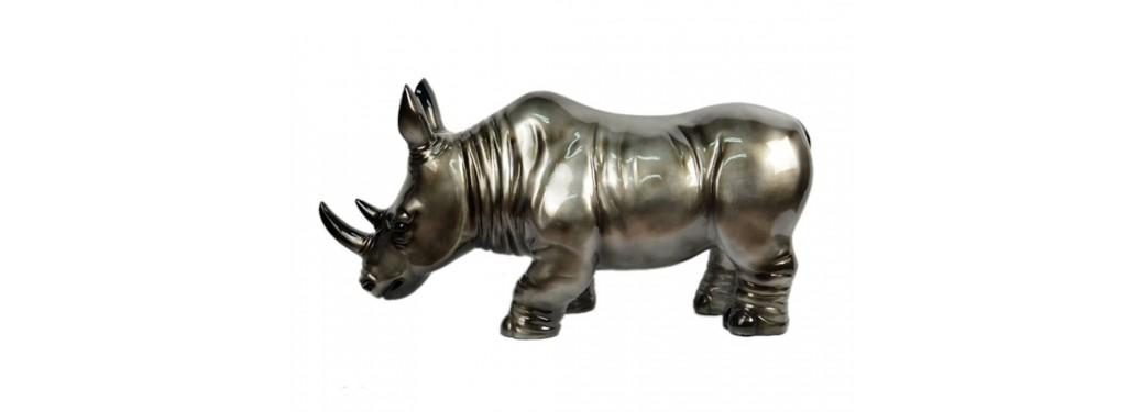 Statue de rhinocéros gris argenté en résine - L75 cm