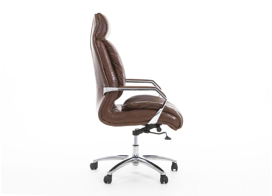 fauteuil de bureau pivotant en cuir vintage et m tal clair. Black Bedroom Furniture Sets. Home Design Ideas