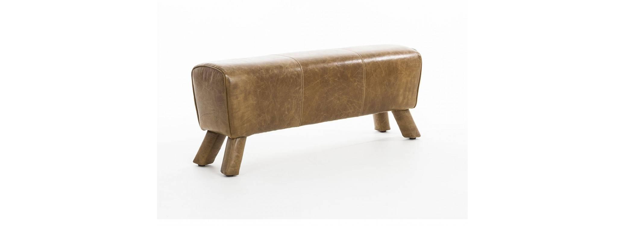 Banc cheval d'arçon - Cuir Colombia brown