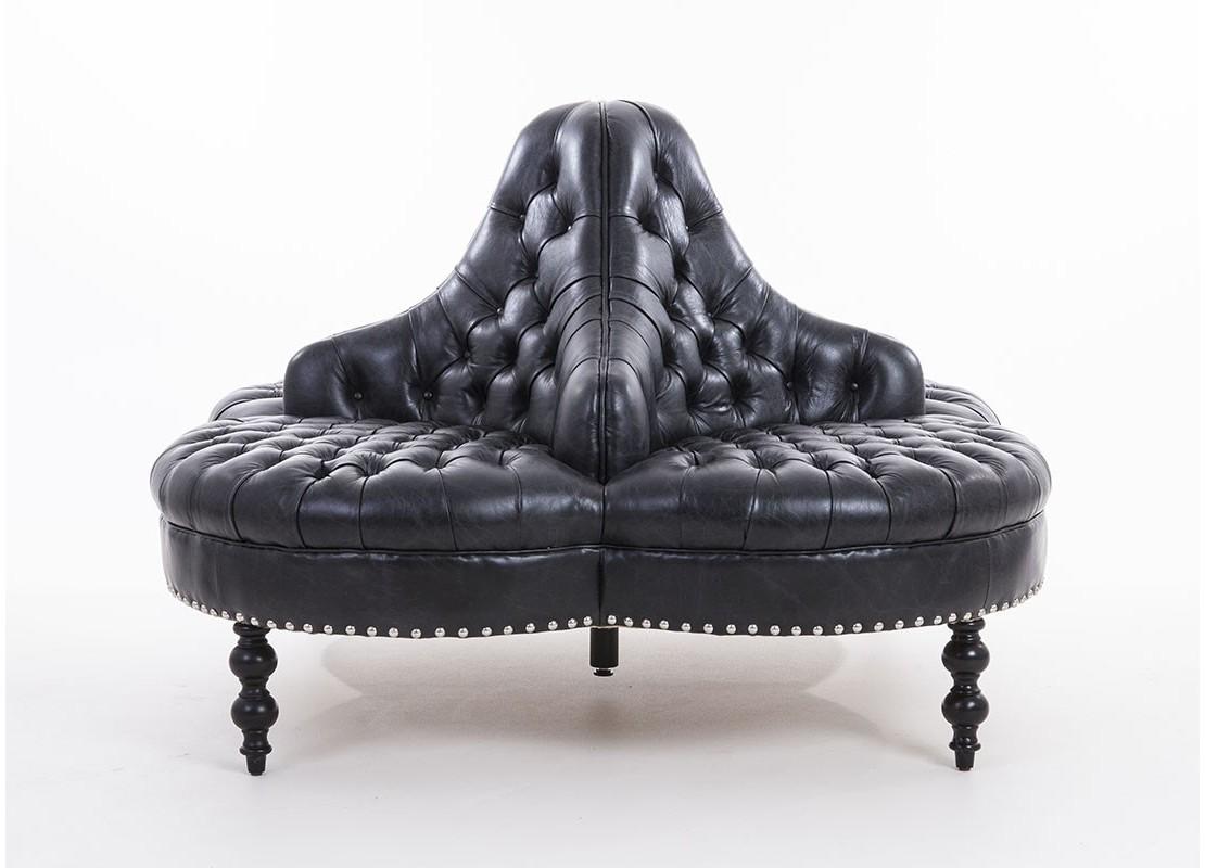 canap r tro cuir sup rieur noir matellass t te t te 4 places. Black Bedroom Furniture Sets. Home Design Ideas