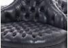Canapé matellassé cuir noir - 4 places