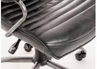 Fauteuil de bureau cuir méta noir - H114 cm
