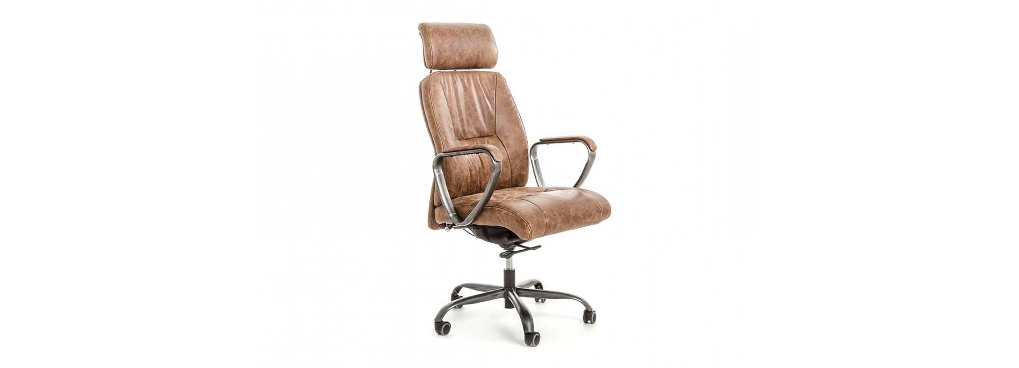 Fauteuil de bureau en cuir marron vintage et métal noir clair