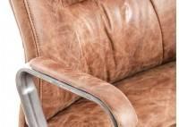 Fauteuil de bureau en cuir marron vintage et métal noir clair - L65 cm