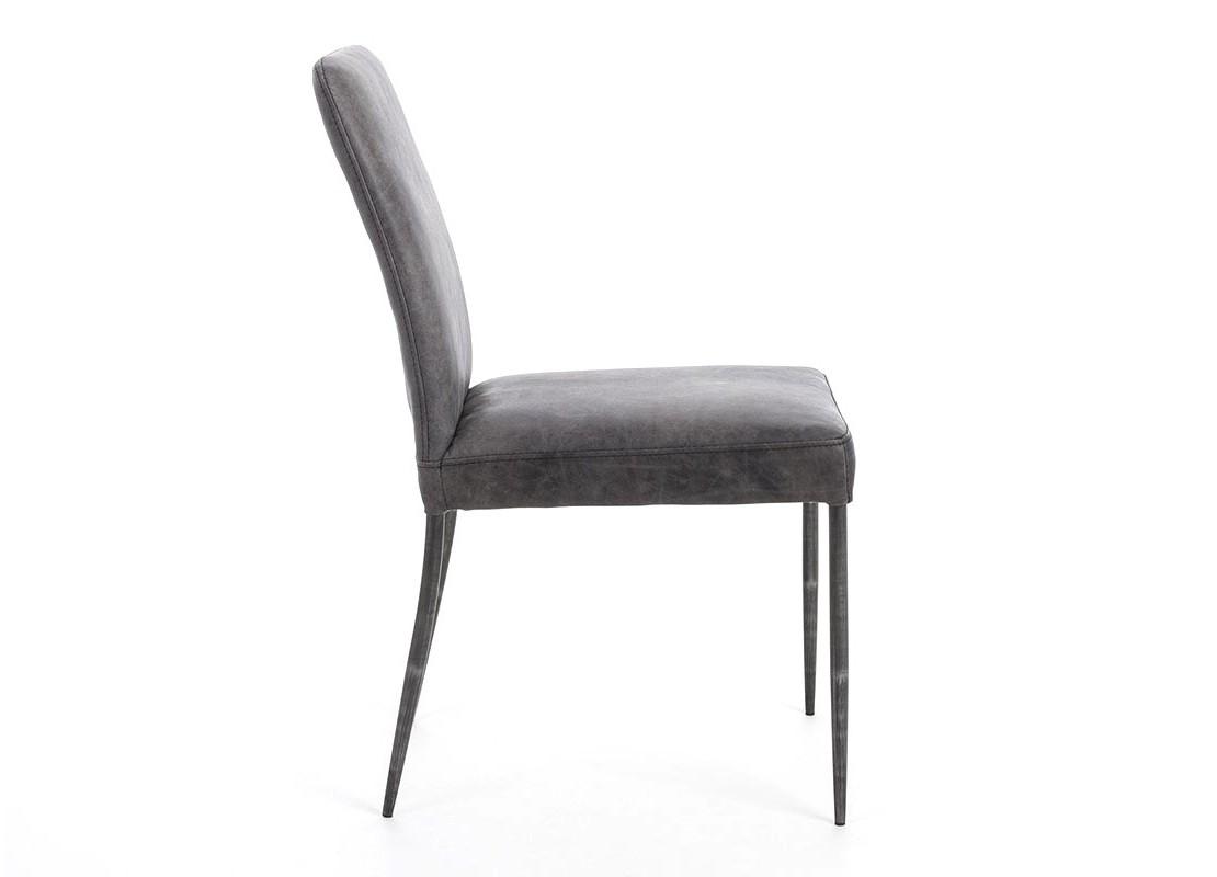 chaise en cuir noir vintage et metal noir. Black Bedroom Furniture Sets. Home Design Ideas