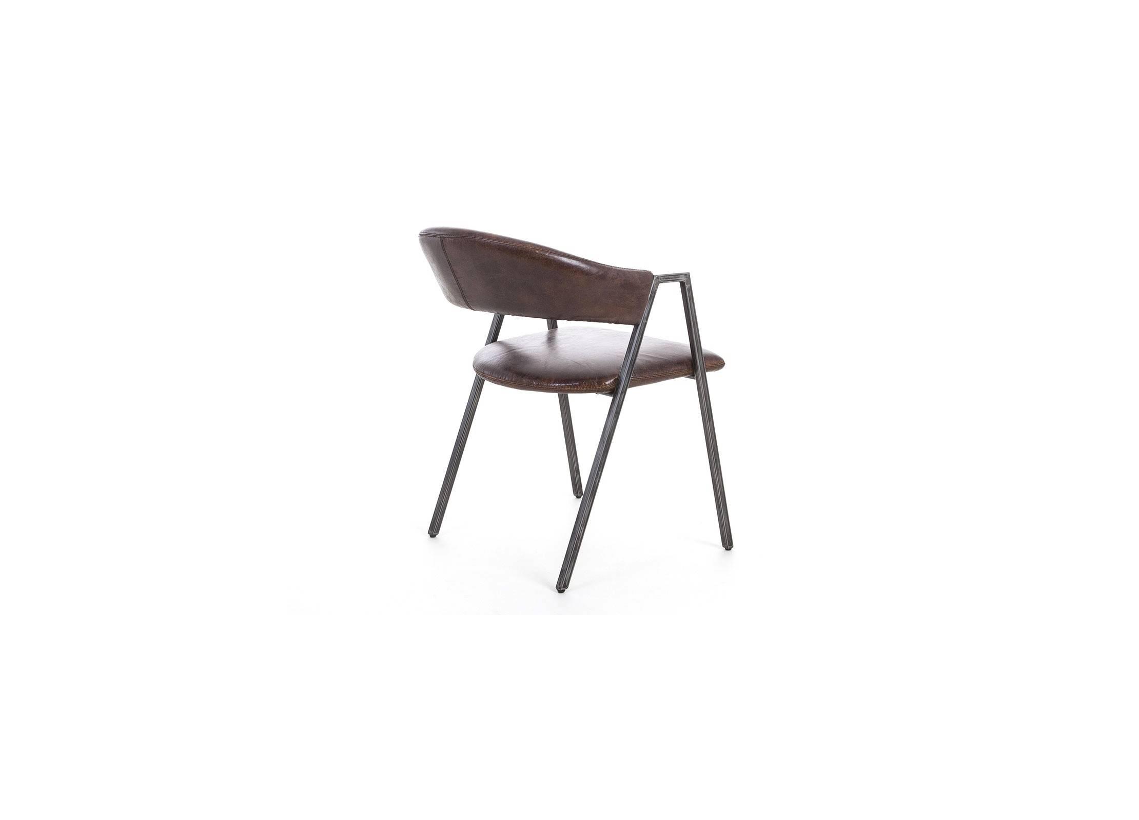 chaise en cuir vintage et metal noir. Black Bedroom Furniture Sets. Home Design Ideas