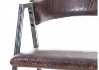 Chaise en cuir marron vintage et métal noir - L56 cm