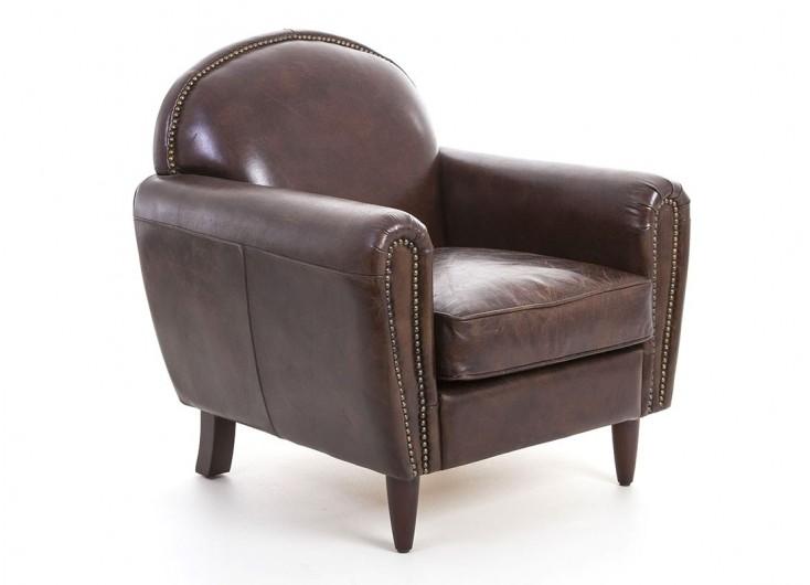 Fauteuil Club cuir vintage - L90 cm