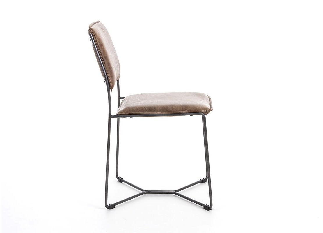 Chaise de salle à manger en cuir vintage marron et metal noir.