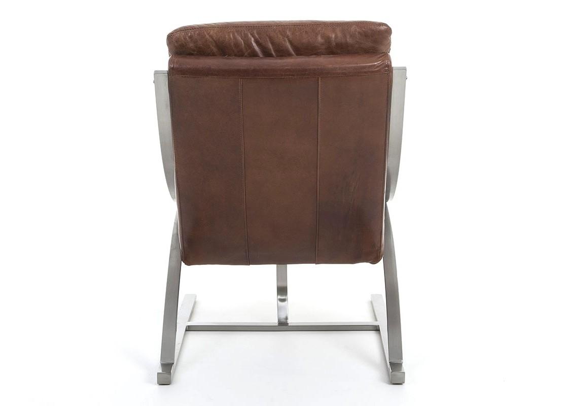 fauteuil en cuir marron vintage et aluminium bross. Black Bedroom Furniture Sets. Home Design Ideas
