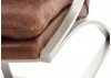 Fauteuil cuir marron et aluminum brossé