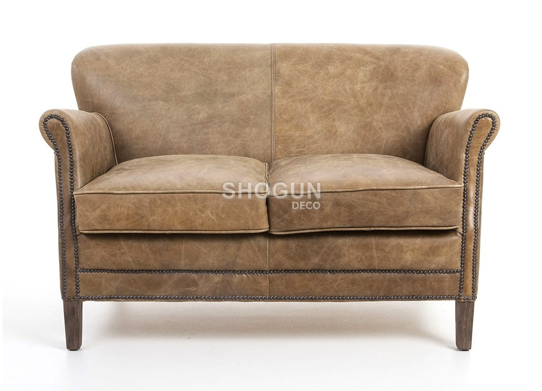 canap club 2 places en cuir marron vintage de qualit sup rieur. Black Bedroom Furniture Sets. Home Design Ideas