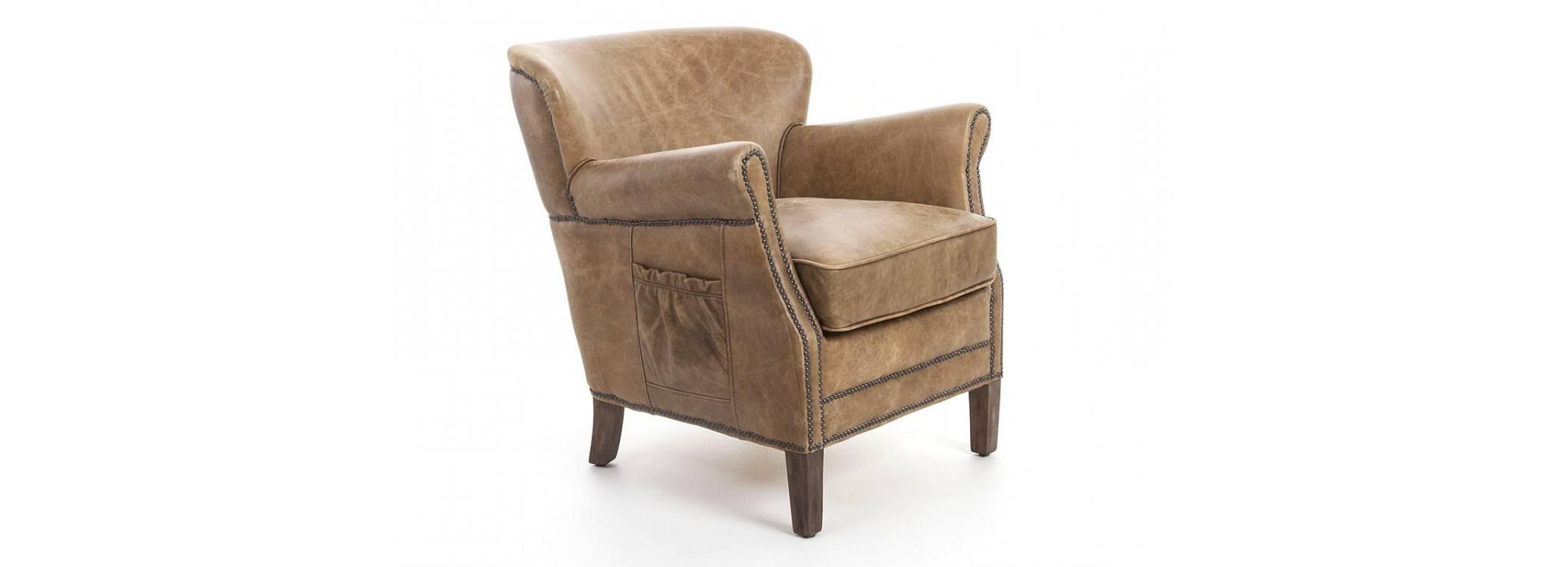 Fauteuil club Camus en cuir marron style vintage - L72 cm
