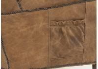 Fauteuil club cuir marron style vintage - L72 cm