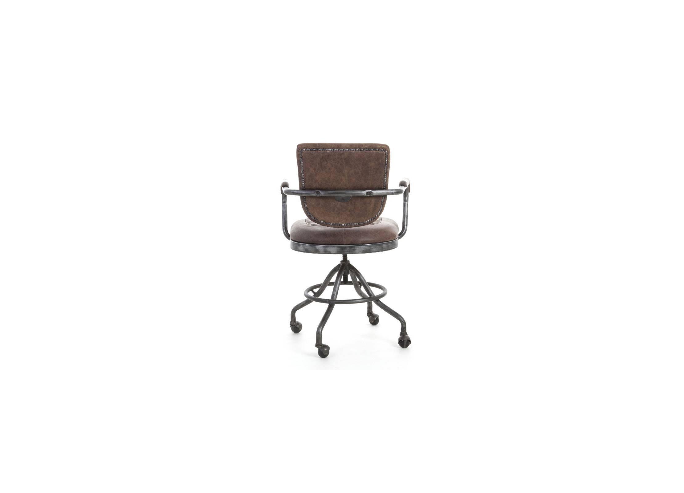 Bureau Metallique Industriel Vintage fauteuil de bureau en cuir marron style vintage et métal sur