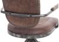 Fauteuil de bureau cuir marron vintage et metal - H84 cm