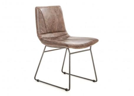 Chaise de bureau en cuir marron vintage et métal noir