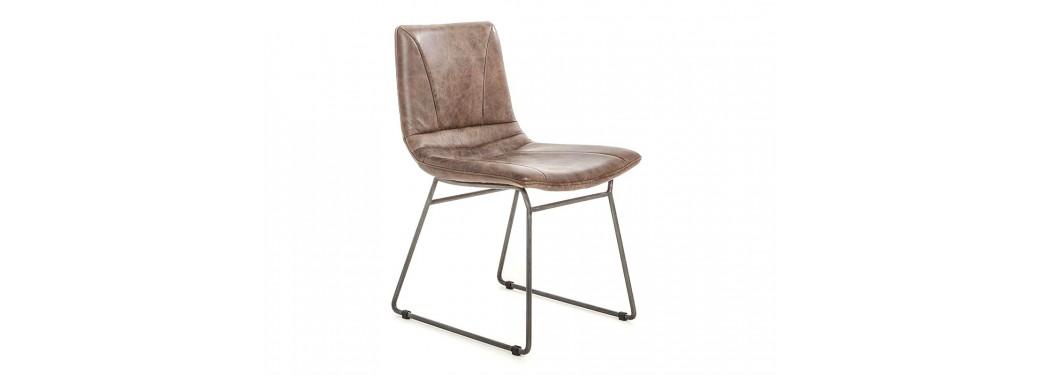 Chaise Sullivan - Cuir marron et métal noir
