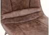 Chaise de bureau en cuir marron vintage et métal noir - L45 cm