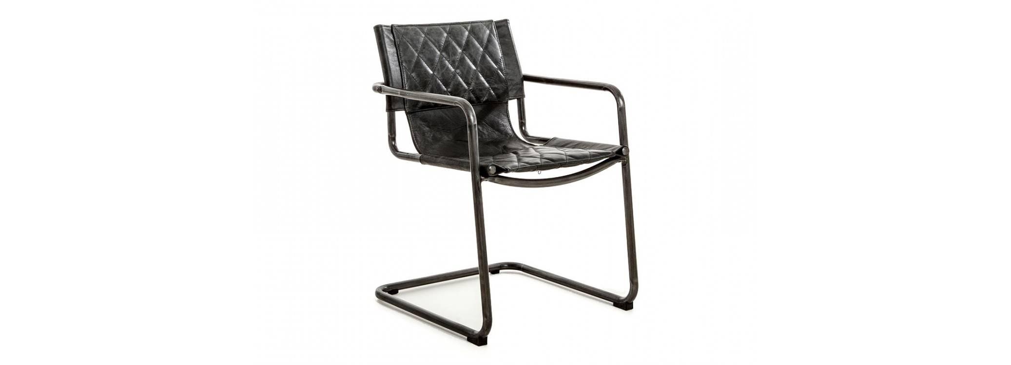 Chaise Dexter - Cuir noir et métal noir