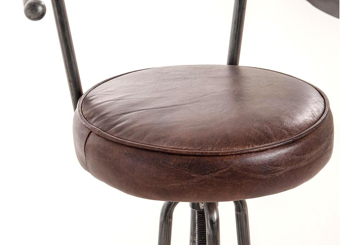 tabouret de bar avec dossier cuir vintage marron et. Black Bedroom Furniture Sets. Home Design Ideas