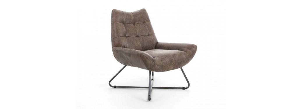 Fauteuil confort en cuir marron et structure métal