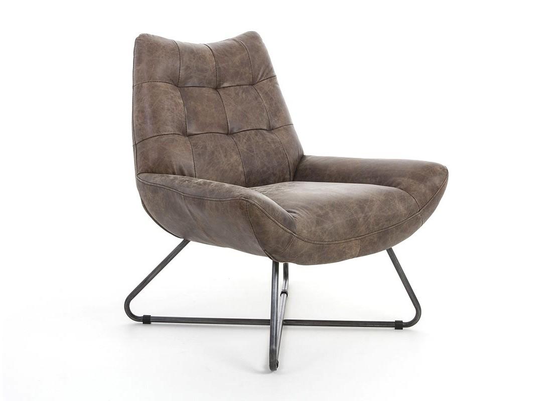 fauteuil confortable en cuir marron etm tal. Black Bedroom Furniture Sets. Home Design Ideas