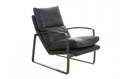 Fauteuil confort en cuir noir et métal
