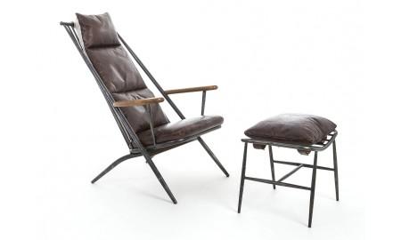 Fauteuil incliné et repose pied en cuir marron vintage