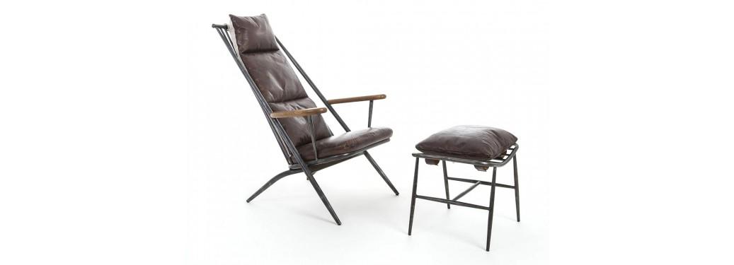 Fauteuil confort Lexington et repose pied - Cuir marron et métal