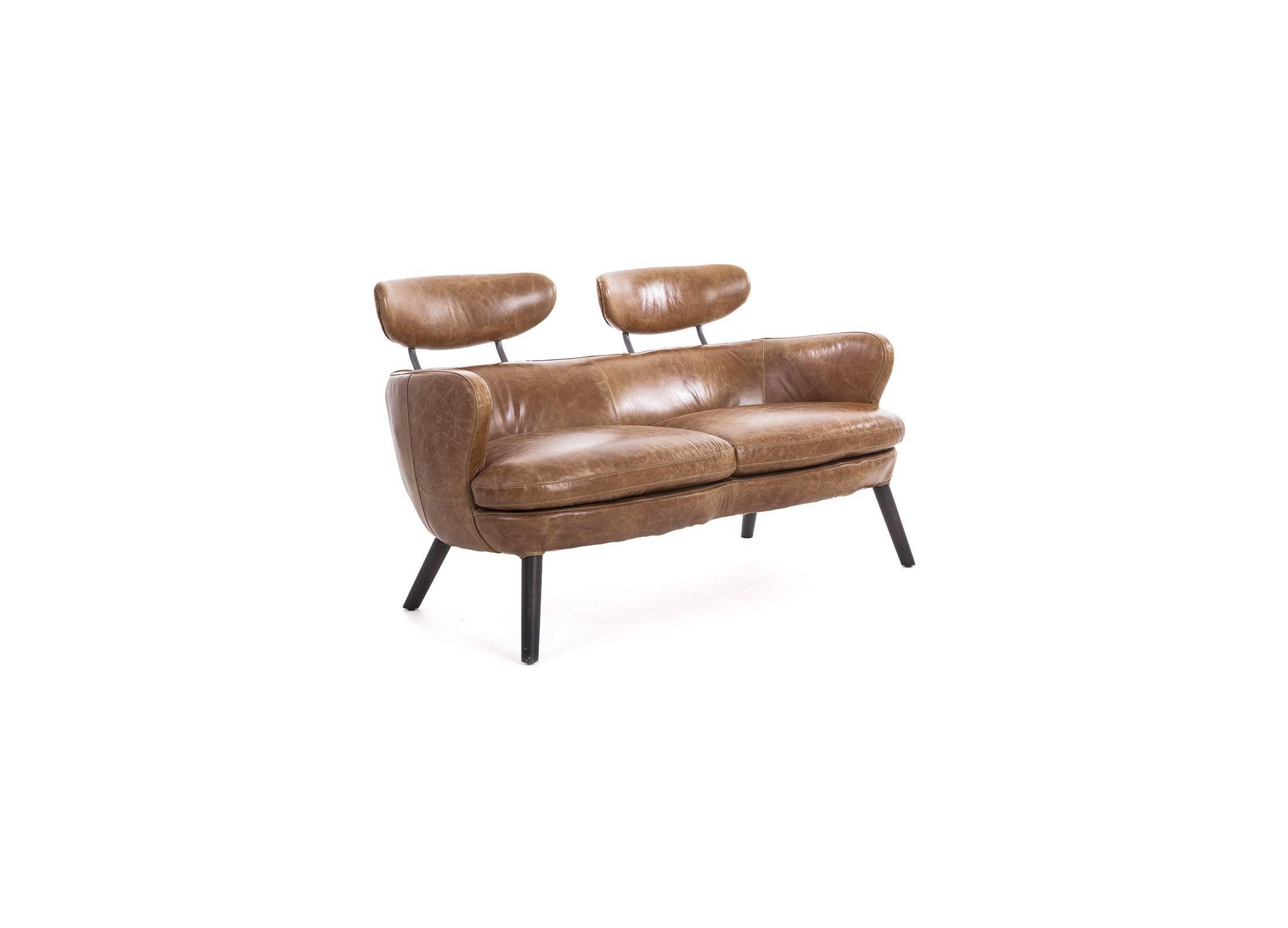 canapé cuir marron pleine fleur 2 places, structure bois et métal