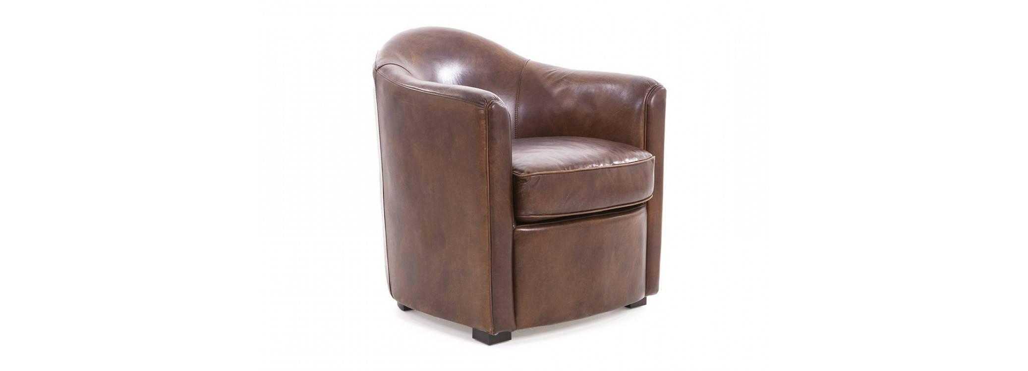 Club Armchair Dumas - Brown leather