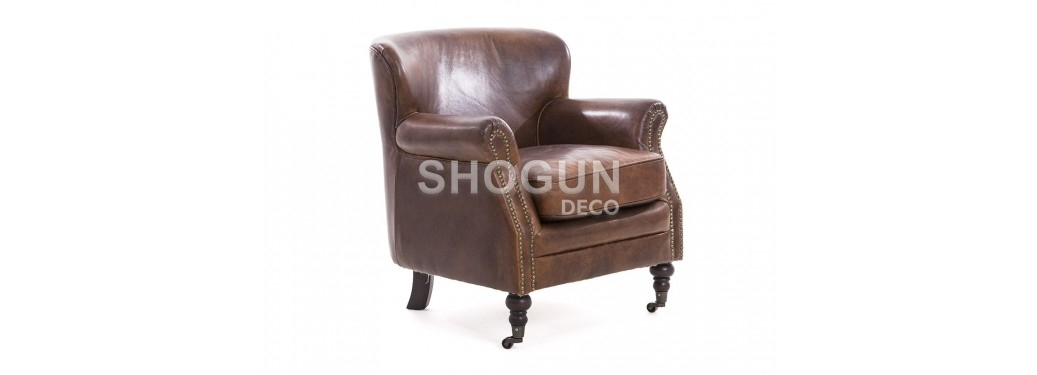Club armchair Professor - brown leather