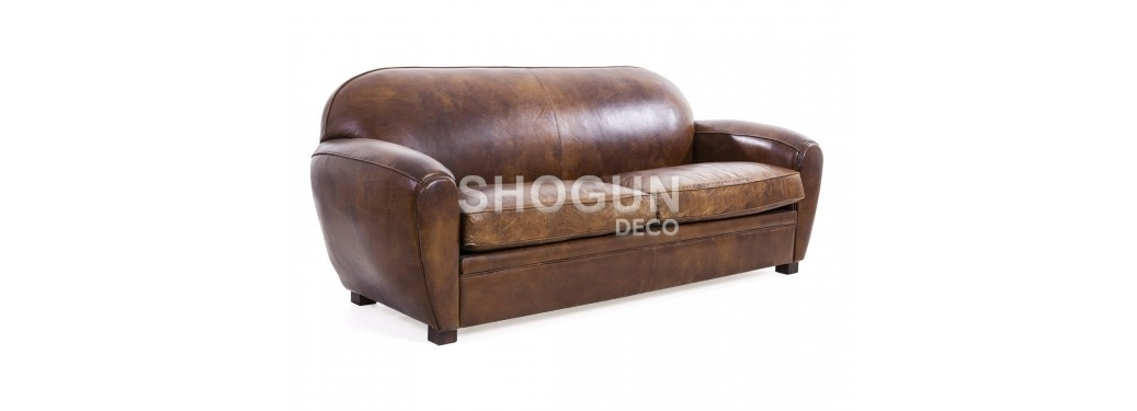 Club sofa Chruchill - 3 seaters - Brown leather