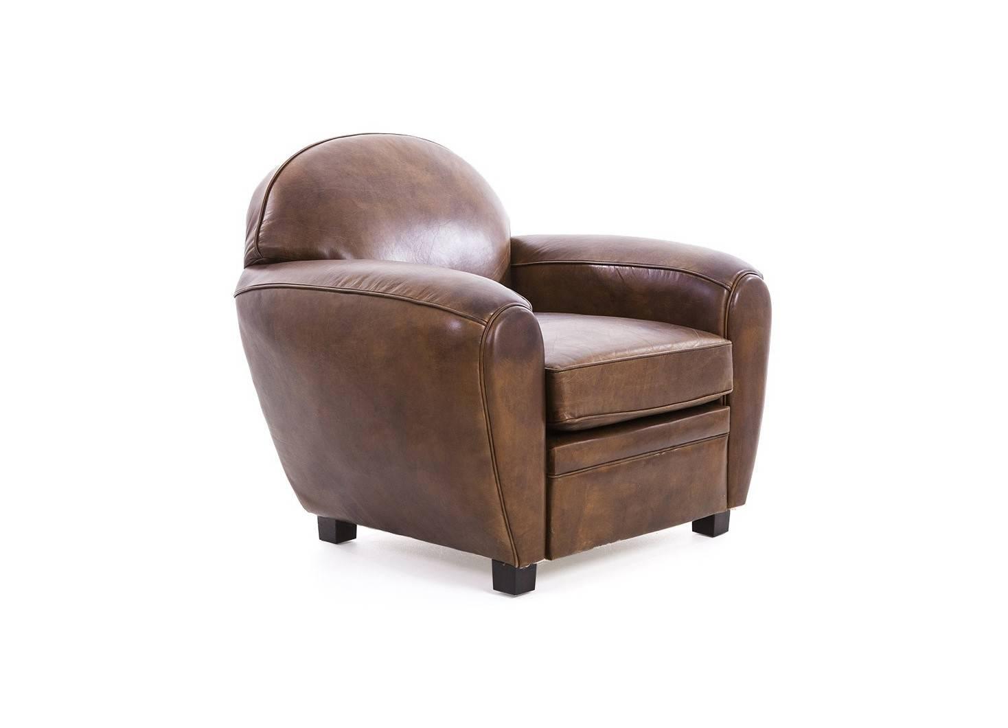 fauteuil club rond cuir marron structure et pi tement en bois. Black Bedroom Furniture Sets. Home Design Ideas