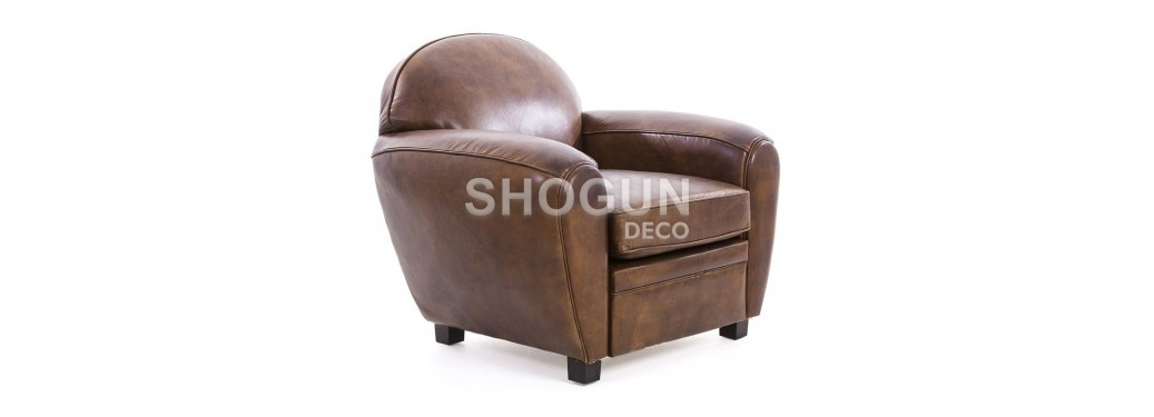 Club armchair Churchill - Brown leather