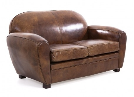 Club armchair 2 seaters - brown leather